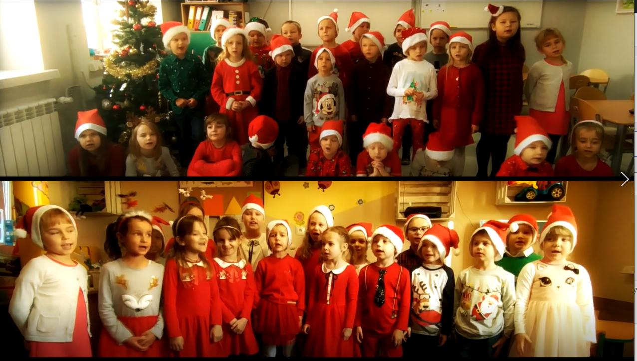 Zdjęcie grupy Słoneczek, Biedronek i Motylków w świątecznych strojach